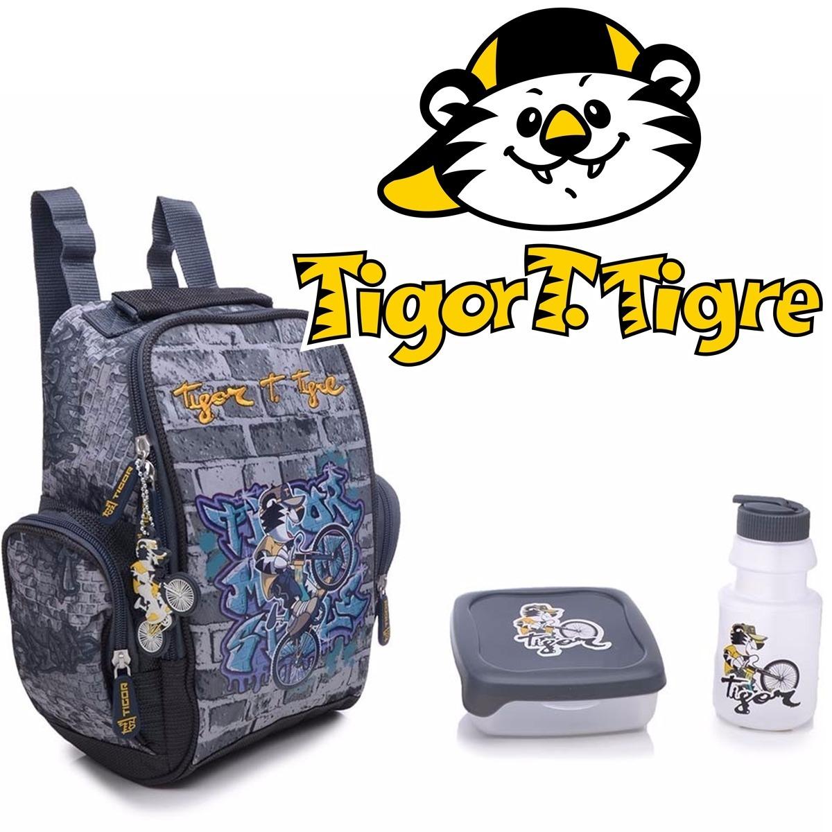 c251b62e79   promoção   lancheira tigor t. tigre cinza original c  kit. Carregando zoom .
