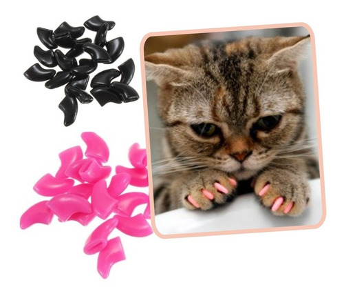 ¡ protector de uñas t. s para gatos negro nails caps !!