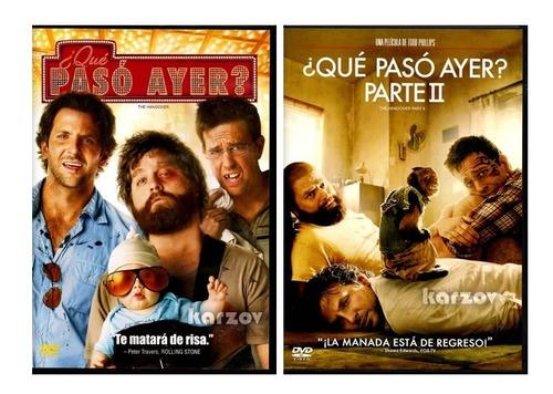 ¿ que paso ayer ? parte 1 y 2 the hangover paquete dvd