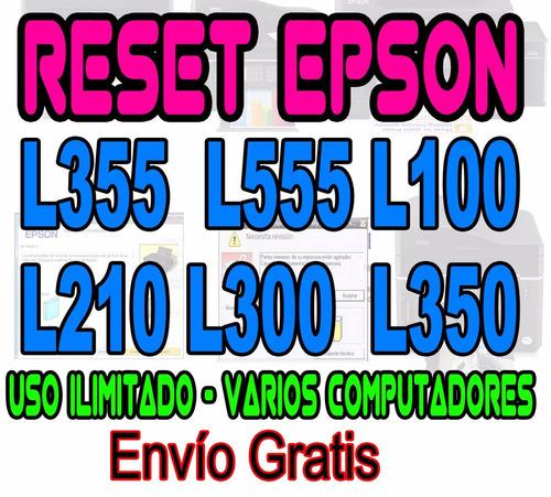 ++ reset epson l355  l555 l100 l210 l300  l350 varios pcs ++