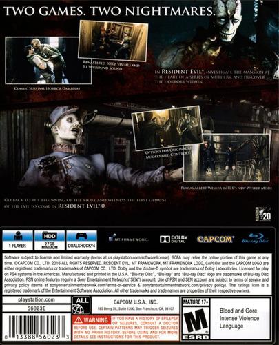 ..:: resident evil origins collection ::.. para ps4 gamecent