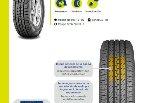 . rodamiento goma camioneta, medidas ht2 p265/75r-16 114t