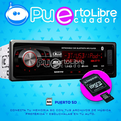= sanyo = radio de auto usb sd fm bluetooth mp3 + microfono