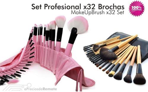 ¡ set de 32 brochas y pinceles pink maquillaje profesional !