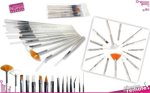¡ set x15 pinceles para decoración d uñas manicura oferta !!