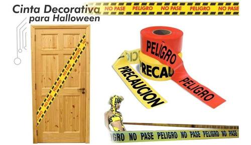 ¡ set x2 cintas decorativas peligro y crimen halloween !!