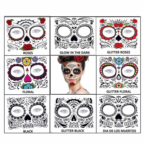 ¡ tatuaje temporal flowers day dead dia de los muertos !!