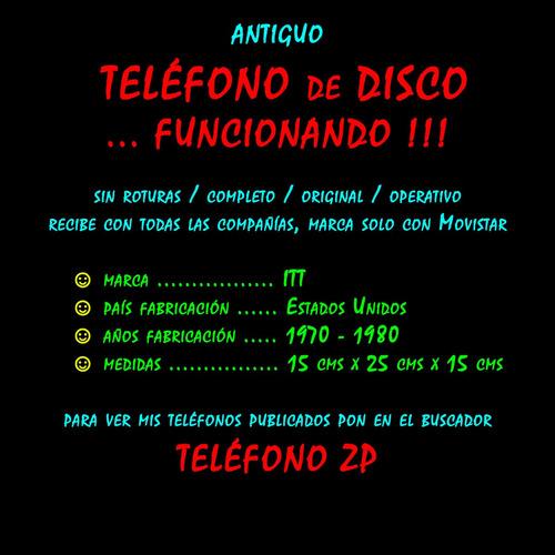 ¬¬ teléfono sobremesa disco u.s.a. antiguo funcionando zp