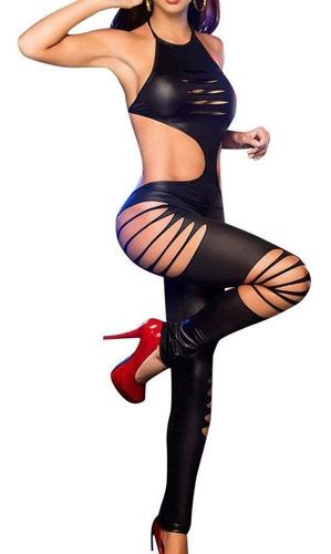 ** traje cuero simil negro , mujer sensual  **