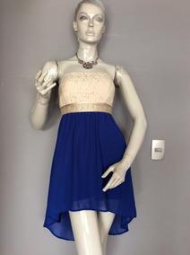 9520e9efe9 Vestido De Encaje Beige Con Falda Azul Gasa