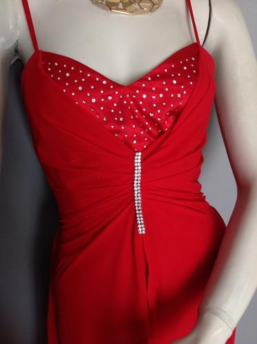 :::. vestido rojo de gasa con brillantes, talla m.:::
