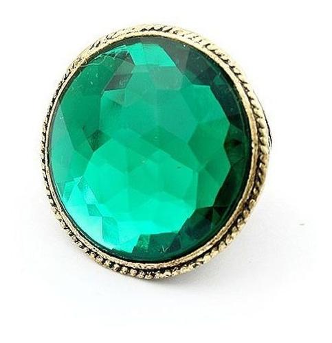 ¡ vintage! anillo color oro envejecido cristal simulado verd