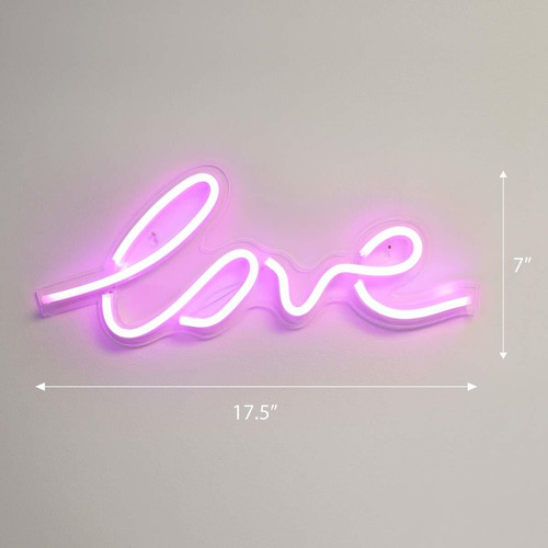 . x  inch led neon pink â¿¿loveâ¿ wall sign for cool l...