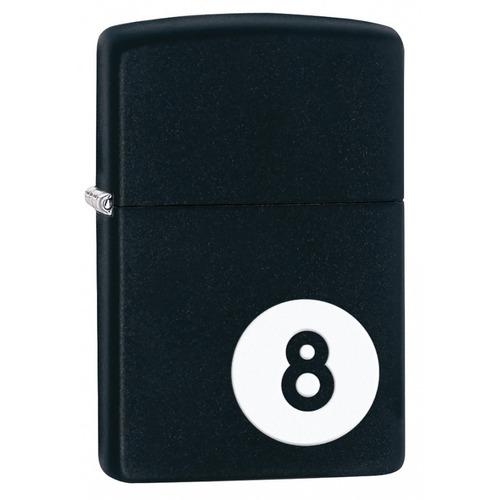 ¡ zippo stamp 8-ball lighter 28432 black matte - negro !!