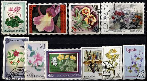 0003 flores dif países lotecito 10 sellos usados modernos