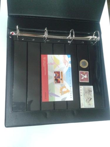 01 album p/ selos 20 paginas 1ª linha + 10 folhas p/ selos