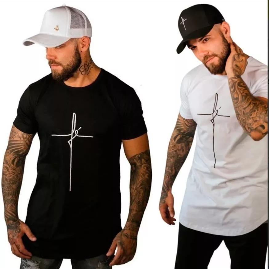 01 camisa camiseta fé longline oversized masculina long. Carregando zoom. cf03a6294e1