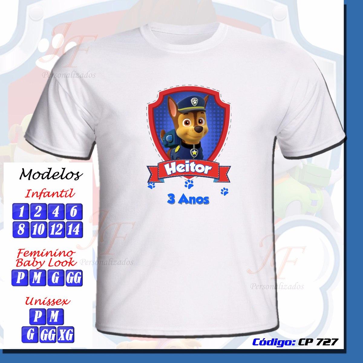 692333edfc 01 camiseta adulto infantil personalizada patrulha canina. Carregando zoom.