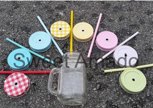 01 caneca mason jar lisa de vidro com 1 tampas e 1 canudos