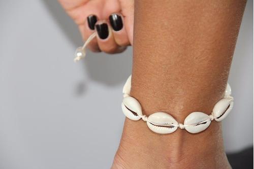 01 colar coleira choker buzios + 01 tornozeleira tamanho g