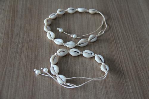 01 colar coleira choker buzios  naturais