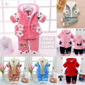 ecac718039 01 Conjunto Inverno Plush Bebê Infantil 03 Peças 0 A 3 Anos