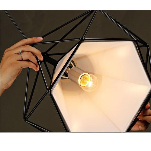 01 lustre pendente luminaria de teto aramado diamante bivolt