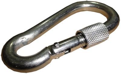 01 mosquetão de ferro 8 x 80 com trava de rosca - 250kg