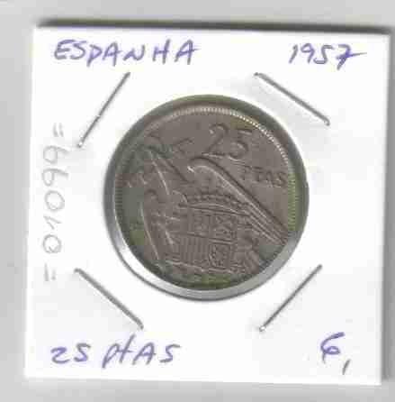01099 espanha - moeda $25 pesetas 1957 25mm