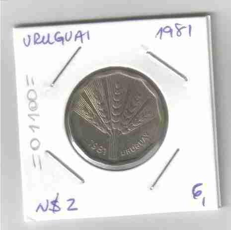 01100 uruguai - moeda n$2 1981 24mm