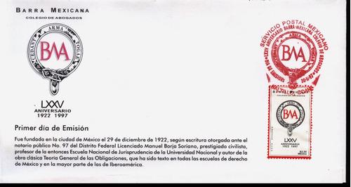 0112 méxico carta primer día barra mexicana 1 sello 1997