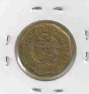 01142 perú - moeda $20 centimos 2008 22mm