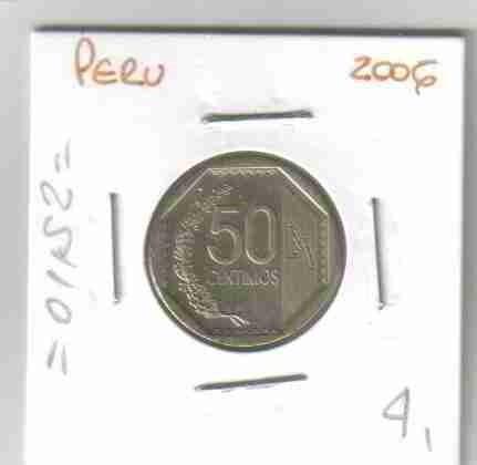 01152 perú - moeda $50 centimos 2006 20mm