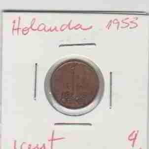 01418 holanda - moeda $1 cent 1953 15mm