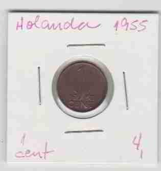 01419 holanda - moeda $1 cent 1955 15mm