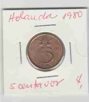 01421 holanda - moeda $5 cent 1980 20mm