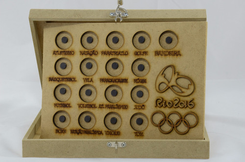 02 albuns porta 17  moedas mdf olimpiadas olimpica rio 2016