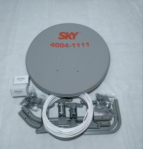 02 antenas banda ku + cabo + conector + lnb duplo