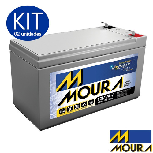 02 baterias moura vrla selada 12v 7ah alarm nobreak patinete