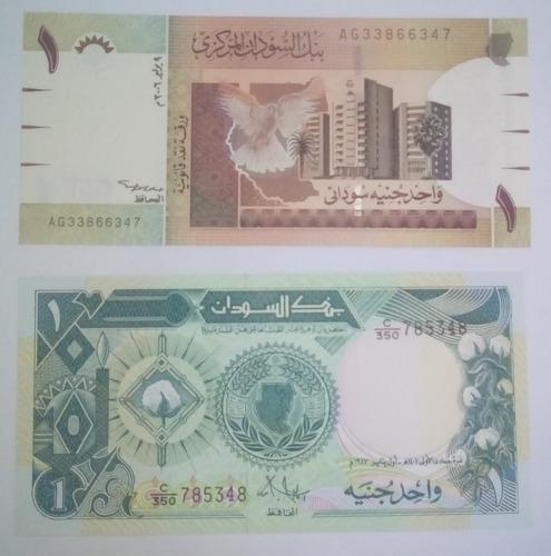 02 billetes sudan: 2 variantes de billetes de un dolar sudan