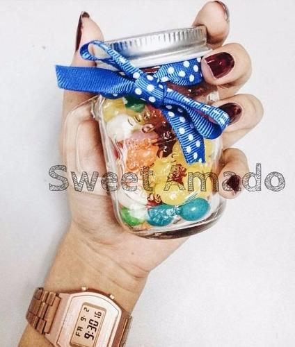 .02 caneca mini vidro mason jar até 130ml lembrancinha