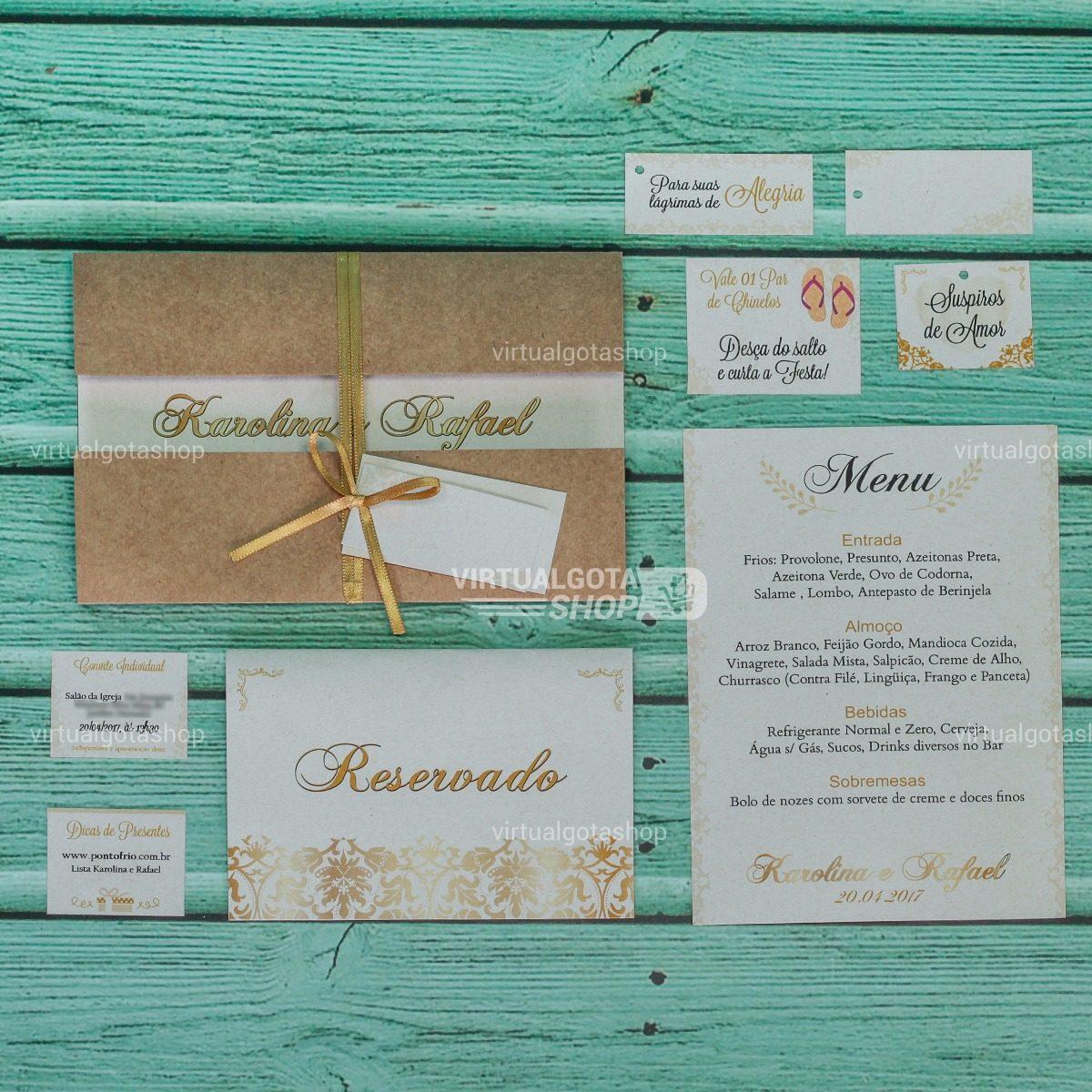02 Convites Casamento Noivado Padrinhos Bodas Rustico R 618 Em