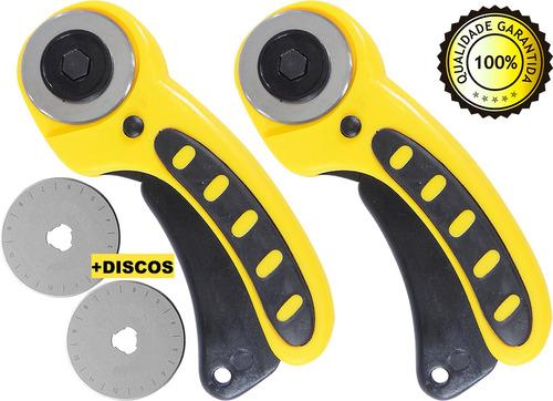 02 cortadores circular manual + 02 discos 45mm tecidos papel