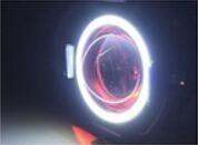 02 farol milha neblina led angel eye u7 moto + interruptor