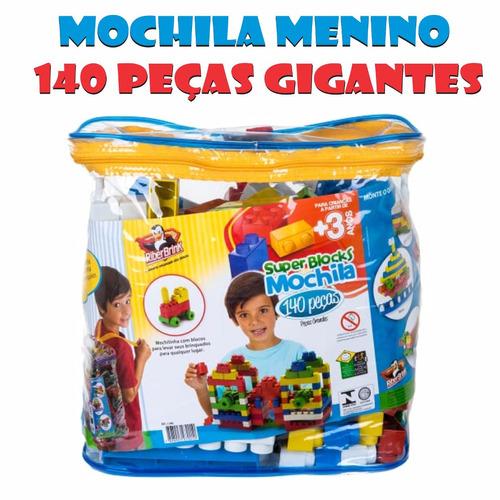 02 mochilas com brinquedos educativos 140 peças grandes
