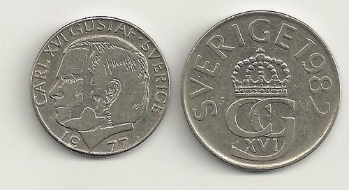 02 moedas diferentes de 1 e 5 coroas sueca
