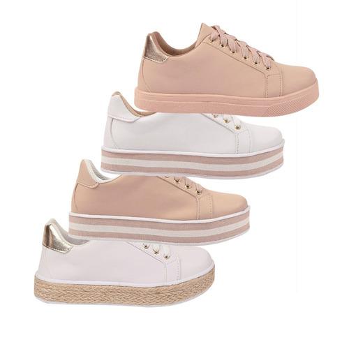 02 pares tênis sapatênis feminino chiquiteira chiqui/1244