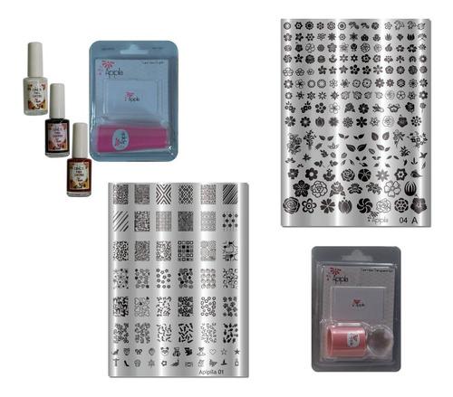 02 placas carimbos unhas + carimbo +02 esmalte kit02b