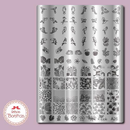 02 placas carimbos unhas frete grátis carimbo+esmalte kit02a