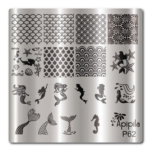 02 placas unhas p54 unicórni + p62 sereia.+ grátis esmalte